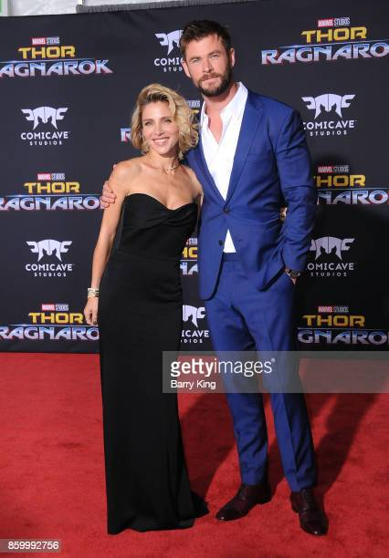 Actress Elsa Pataky and actor Chris Hemsworth attend the world premiere of Disney and Marvel's 'Thor Ragnarok' at El Capitan Theatre on October 10...