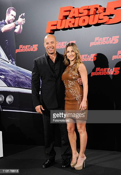 Actress Elsa Pataky and actor Vin Diesel attend a photocall for 'Fast Furious 5' at the Santo Mauro Hotel on April 26 2011 in Madrid Spain
