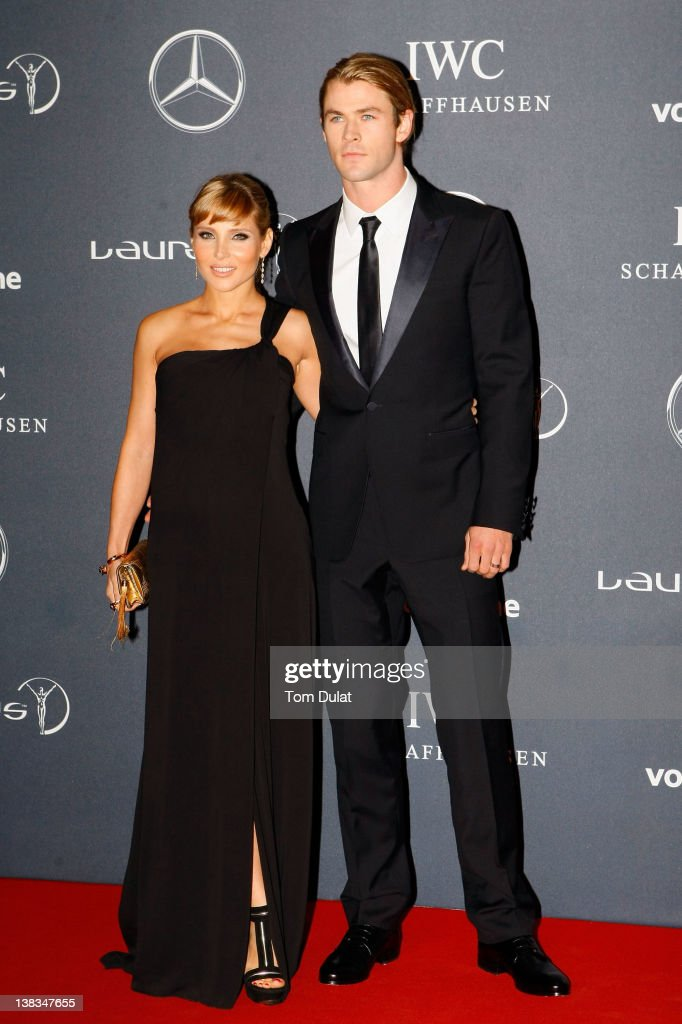 Actress Elsa Pataky and Chris Hemsworth attend the 2012 Laureus World Sports Awards at Central Hall Westminster on February 6, 2012 in London, England.