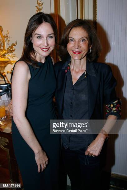 Actress Elsa Zylberstein and director Anne Fontaine attend the 7th Chinese Film Festival Opening Cocktail at Hotel Meurice on May 15 2017 in Paris...
