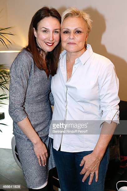 Actress Elsa Zylberstein and Muriel Robin pose after the 'Robin Revient Tsointsoin ' Muriel Robin final show at Palais des Sports on February 1 2014...