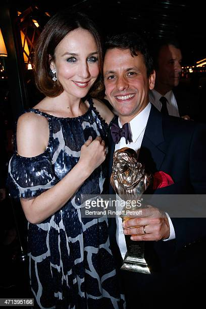 Actress Elsa Zylberstein and Winner of the 'Moliere du Comedien dans un spectacle de Theatre Prive' with 'The Servant' Maxime dAboville attend the...