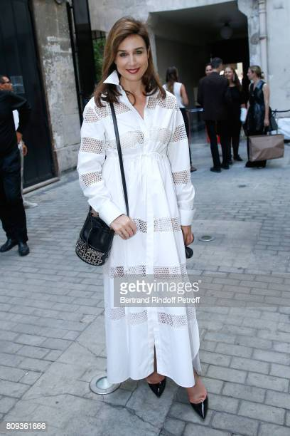 Actress Elsa Zylberstein attends the Azzedine Alaia Fashion Show as part of Haute Couture Paris Fashion Week Held at Azzedine Alaia Gallery on July 5...