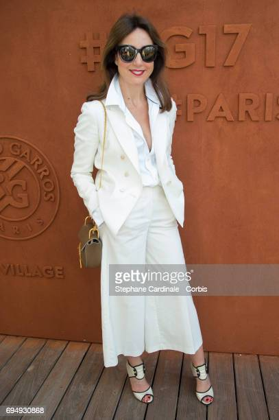 Actress Elsa Zylberstein attends the Men Final of the 2017 French Tennis Open Day Fifteen at Roland Garros on June 11 2017 in Paris France