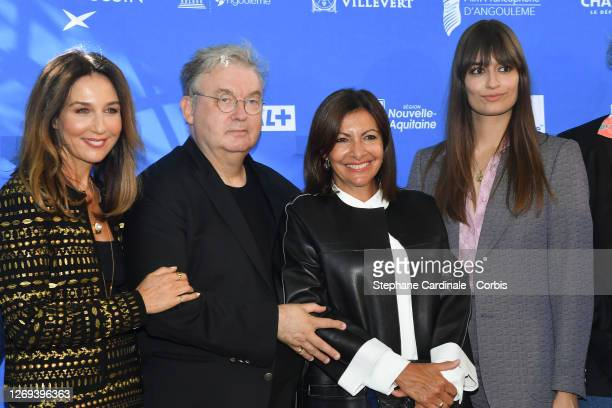 Actress Elsa Zylberstein, Co-creator of the Festival Dominique Besnehard, Paris mayor Anne Hidalgo and singer Clara Luciani attend the Jury Photocall...