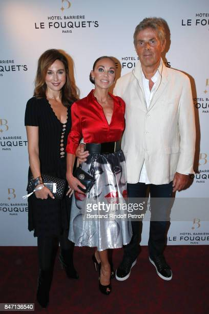 Actress Elsa Zylberstein Dancer Alexandra Cardinale and her companion CEO of Hotel Barriere Dominique Desseigne attend the Reopening of the Hotel...