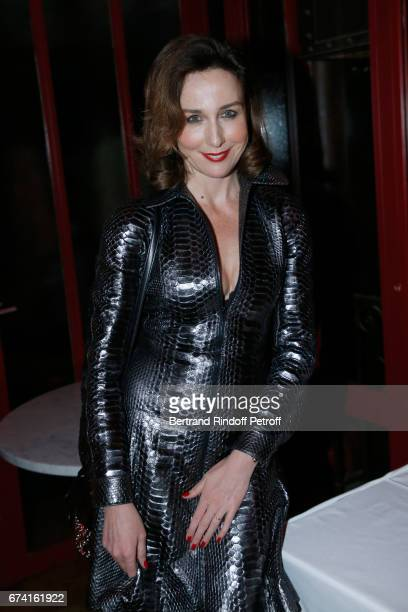 Actress Elsa Zylberstein dressed in Alaia attends the 'pascALEjandro L'Androgyne Alchimique' Exhibition Opening at Azzedine Alaia Gallery on April 27...