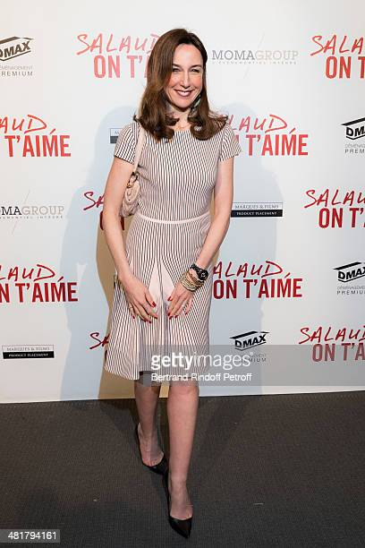 Actress Elsa Zylberstein poses during the premiere of 'Salaud on t'aime' directed by French director Claude Lelouch at Cinema UGC Normandie on March...