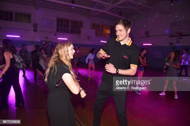 Actress Elsie Fisher and director Bo Burnham attend the after party for a screening of A24's Eigth Grade at Le Conte Middle School on July 11 2018 in...