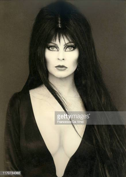 Actress Elvira poses for a portrait at the Design Center circa 1985 in Los Angeles California