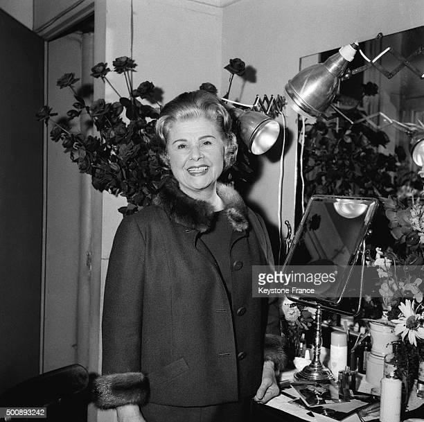 Actress Elvire Popesco in her dressing room at the Théâtre de la Madeleine where she plays 'La Voyante' written by André Roussin on November 21 1963...