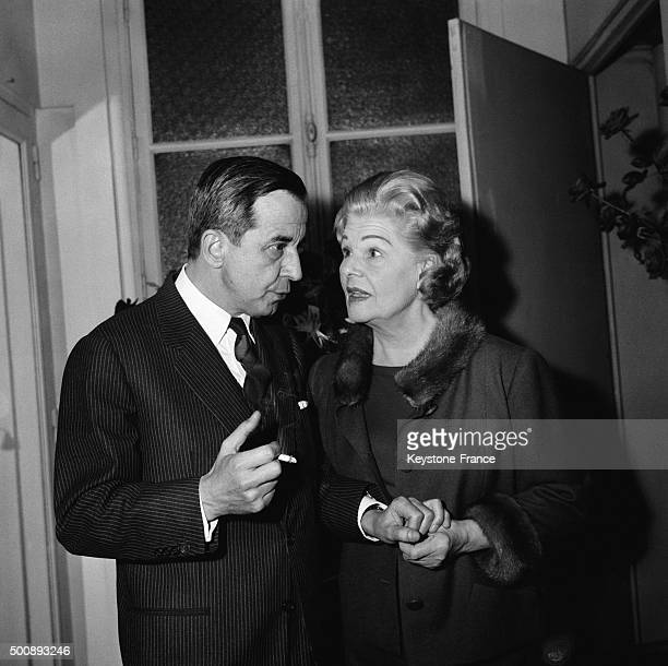 Actress Elvire Popesco with playwright André Roussin after the premiere of the new play 'La Voyante' at the Théâtre de la Madeleine on November 21...
