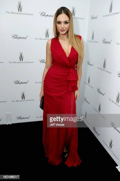 Actress Emanuela Postacchini attends The Weinstein Company Academy Award Party hosted by Chopard at Soho House on February 23 2013 in West Hollywood...