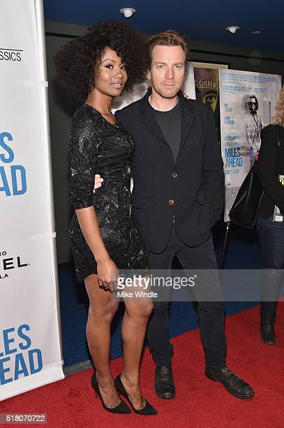"""Actress Emayatzy Corinealdi and actor Ewan McGregor attend the premiere of Sony Pictures Classics' """"Miles Ahead"""" at Writers Guild Theater on March..."""