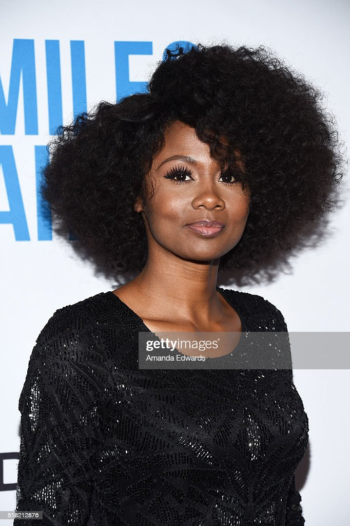 Actress Emayatzy Corinealdi arrives at the premiere of Sony Pictures Classics' 'Miles Ahead' at the Writers Guild Theater on March 29, 2016 in Beverly Hills, California.