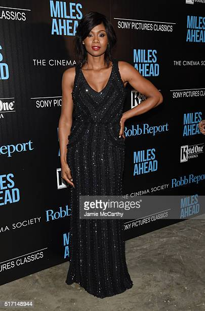 Actress Emayatzy Corinealdi arrives at the screening of Sony Pictures Classics' Miles Ahead hosted by The Cinema Society with Ketel One and Robb...