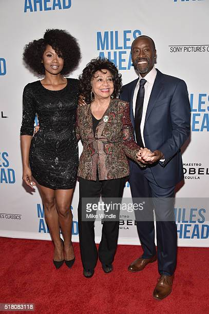 Actress Emayatzy Corinealdi Frances Davis and director/actor Don Cheadle attend the premiere of Sony Pictures Classics' 'Miles Ahead' at Writers...