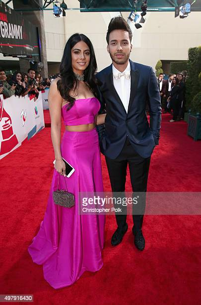 Actress Emeraude Toubia and recording artist Prince Royce attend the 16th Latin GRAMMY Awards at the MGM Grand Garden Arena on November 19 2015 in...