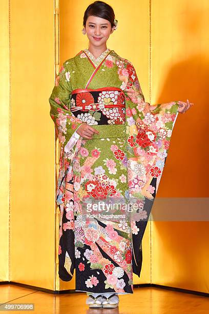 Actress Emi Takei attends the New Year's Kimono photocall for Oscar Promotion on December 3 2015 in Tokyo Japan