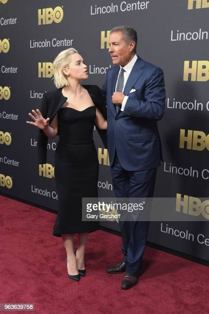Actress Emilia Clarke and event honoree Chairman CEO of HBO Richard Plepler attend the 2018 Lincoln Center American Songbook gala honoring HBO's...