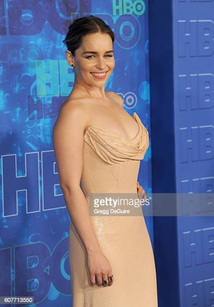 Actress Emilia Clarke arrives at HBO's Post Emmy Awards Reception at The Plaza at the Pacific Design Center on September 18 2016 in Los Angeles...