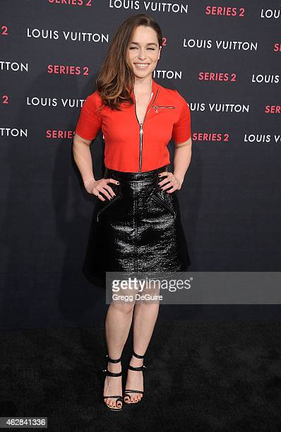 """Actress Emilia Clarke arrives at Louis Vuitton """"Series 2"""" The Exhibition on February 5, 2015 in Hollywood, California."""