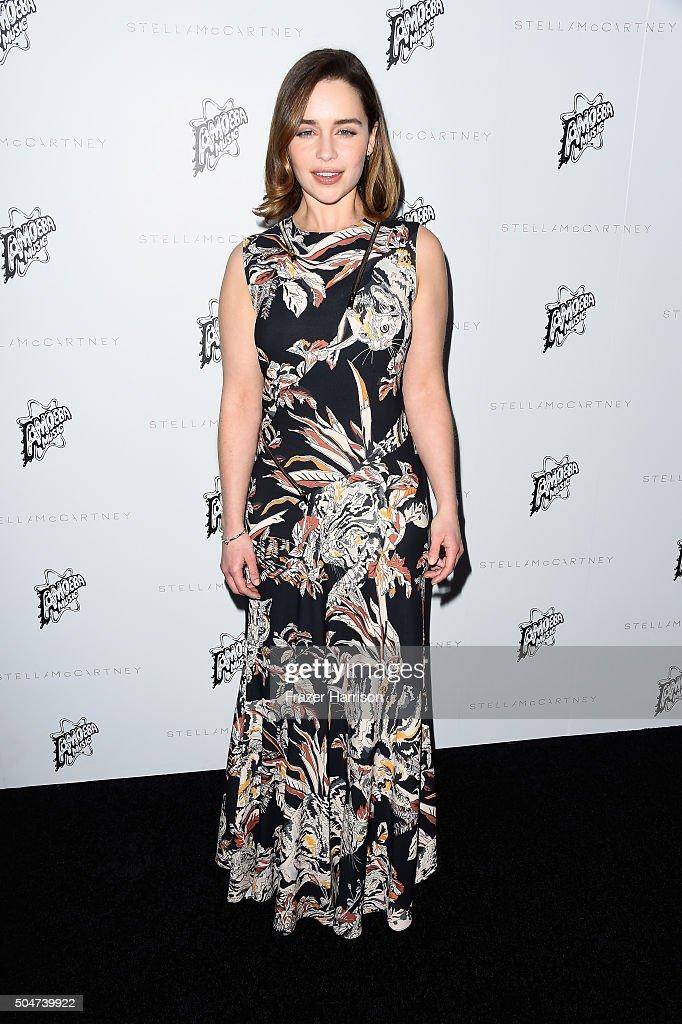 Actress Emilia Clarke arrives at Stella McCartney Autumn 2016 Presentation at Amoeba Music on January 12, 2016 in Los Angeles, California.