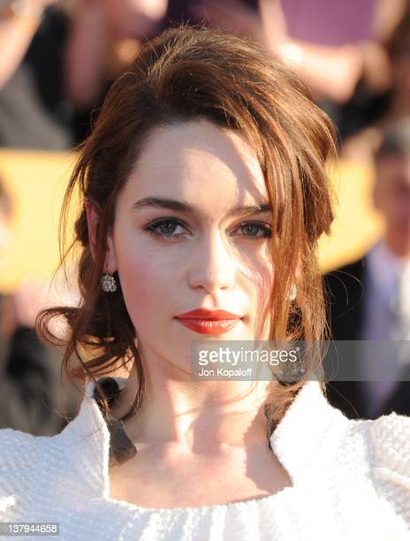 Actress Emilia Clarke arrives at the 18th Annual Screen Actors Guild Awards held at The Shrine Auditorium on January 29, 2012 in Los Angeles,...