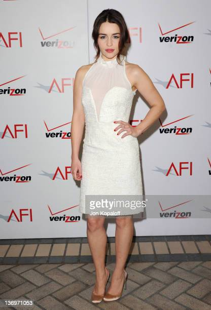 Actress Emilia Clarke arrives at the 2011 AFI Awards Luncheon at Four Seasons Hotel Los Angeles at Beverly Hills on January 13, 2012 in Beverly...