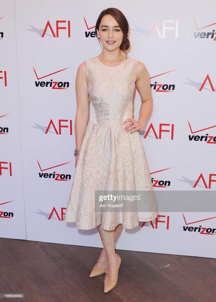 Actress Emilia Clarke arrives at the 2012 AFI Awards Luncheon on January 11, 2013 in Beverly Hills, California.