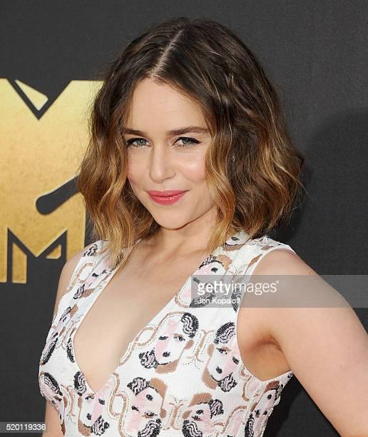Actress Emilia Clarke arrives at the 2016 MTV Movie Awards at Warner Bros Studios on April 9 2016 in Burbank California