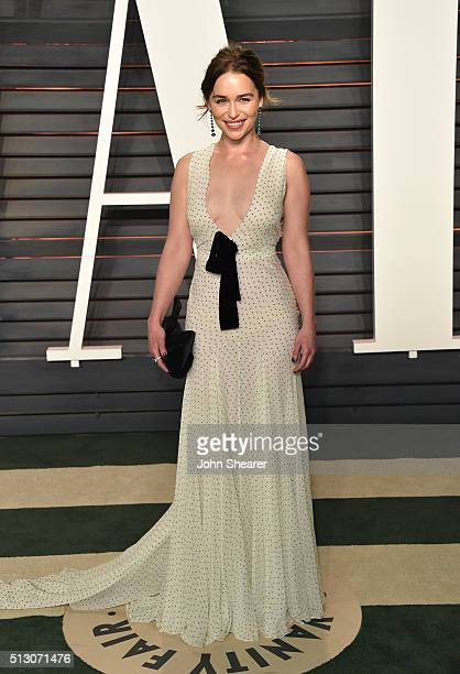 Actress Emilia Clarke arrives at the 2016 Vanity Fair Oscar Party Hosted By Graydon Carter at Wallis Annenberg Center for the Performing Arts on...