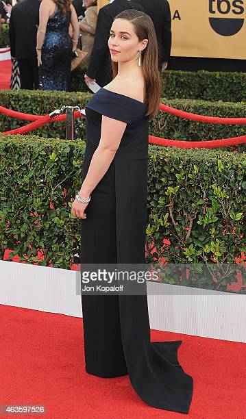 Actress Emilia Clarke arrives at the 21st Annual Screen Actors Guild Awards at The Shrine Auditorium on January 25 2015 in Los Angeles California