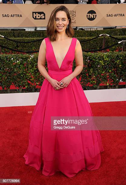 Actress Emilia Clarke arrives at the 22nd Annual Screen Actors Guild Awards at The Shrine Auditorium on January 30 2016 in Los Angeles California