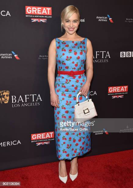 Actress Emilia Clarke arrives at The BAFTA Los Angeles Tea Party at Four Seasons Hotel Los Angeles at Beverly Hills on January 6 2018 in Los Angeles...