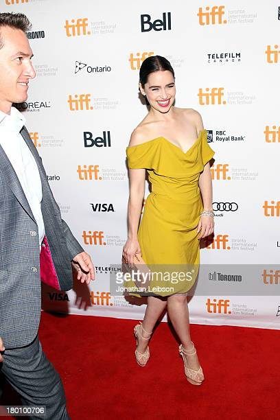 """Actress Emilia Clarke arrives at the """"Dom Hemingway"""" Premiere during the 2013 Toronto International Film Festival at Princess of Wales Theatre on..."""
