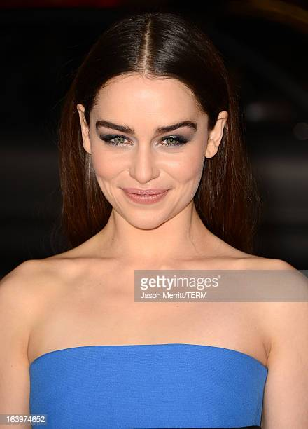 Actress Emilia Clarke arrives at the premiere of HBO's 'Game Of Thrones' Season 3 at TCL Chinese Theatre on March 18 2013 in Hollywood California