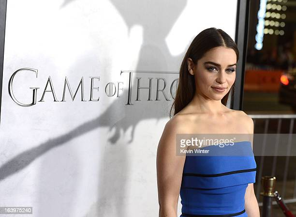 Actress Emilia Clarke arrives at the premiere of HBO's Game Of Thrones Season 3 at TCL Chinese Theatre on March 18 2013 in Hollywood California
