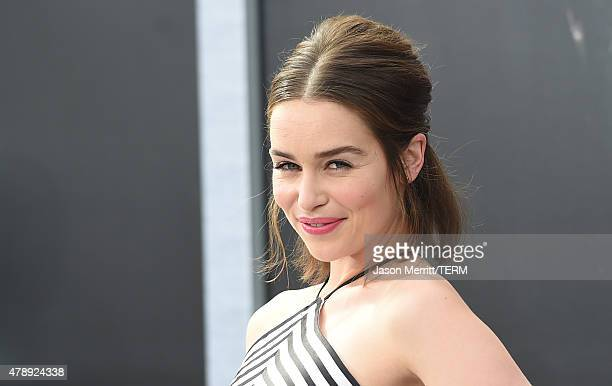 Actress Emilia Clarke arrives at the premiere of Paramount Pictures' 'Terminator Genisys' at the Dolby Theatre on June 28 2015 in Hollywood California