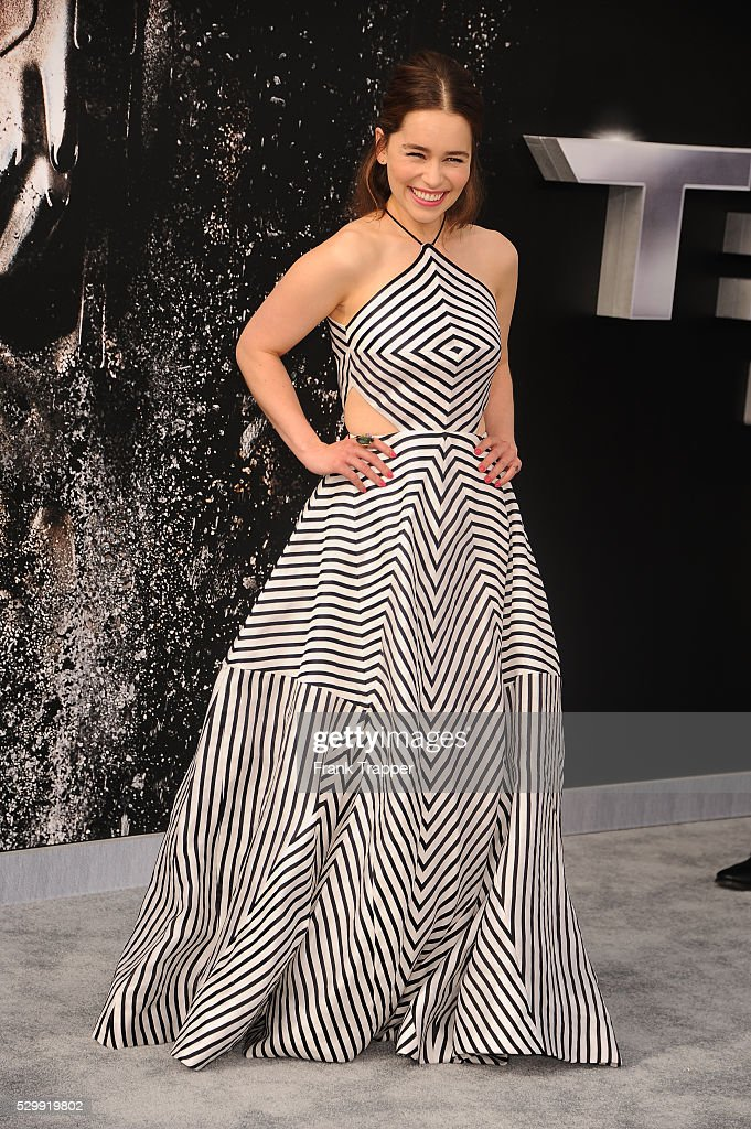 Actress Emilia Clarke arrives at the premiere of ...