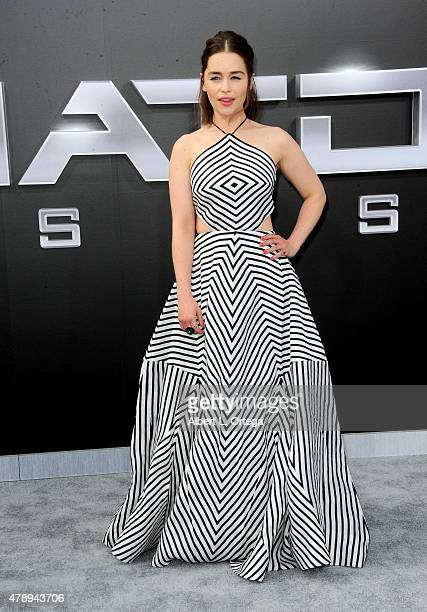 Actress Emilia Clarke arrives for the premiere of Paramount Pictures' Terminator Genisys held at Dolby Theatre on June 28 2015 in Hollywood California