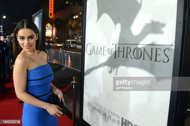 """Actress Emilia Clarke arrives to HBO's """"Game Of Thrones"""" Los Angeles Premiere at TCL Chinese Theatre on March 18, 2013 in Hollywood, California."""