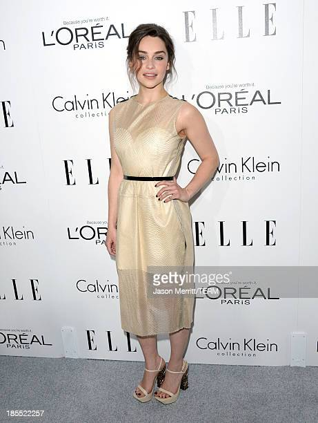 Actress Emilia Clarke attends ELLE's 20th Annual Women In Hollywood Celebration at Four Seasons Hotel Los Angeles at Beverly Hills on October 21 2013...