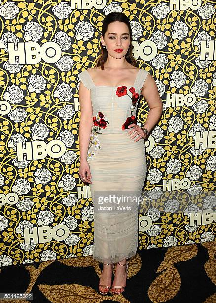 Actress Emilia Clarke attends HBO's post 2016 Golden Globe Awards party at Circa 55 Restaurant on January 10 2016 in Los Angeles California