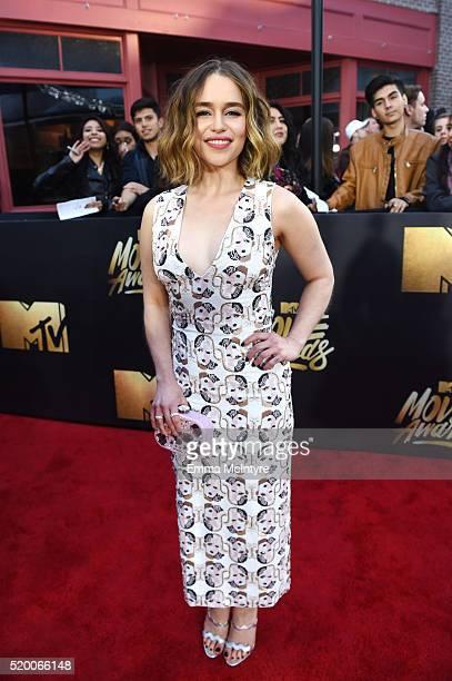 Actress Emilia Clarke attends the 2016 MTV Movie Awards at Warner Bros Studios on April 9 2016 in Burbank California MTV Movie Awards airs April 10...
