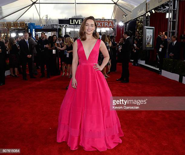Actress Emilia Clarke attends the 22nd Annual Screen Actors Guild Awards at The Shrine Auditorium on January 30 2016 in Los Angeles California