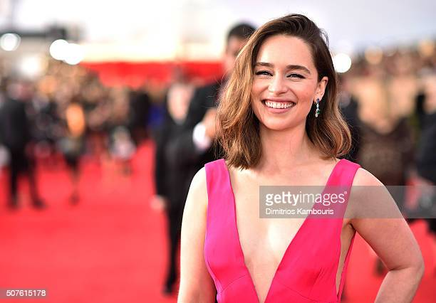 Actress Emilia Clarke attends The 22nd Annual Screen Actors Guild Awards at The Shrine Auditorium on January 30 2016 in Los Angeles California...