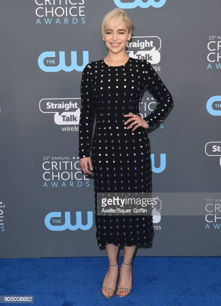 Actress Emilia Clarke attends the 23rd Annual Critics' Choice Awards at Barker Hangar on January 11 2018 in Santa Monica California