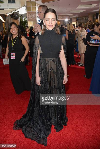 Actress Emilia Clarke attends the 73rd annual Golden Globe Awards sponsored by FIJI Water at The Beverly Hilton Hotel on January 10 2016 in Beverly...