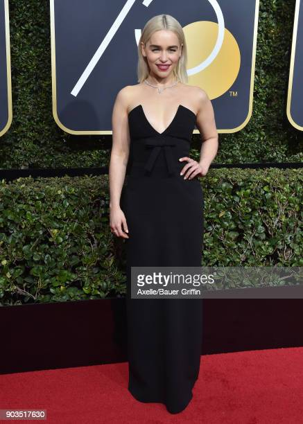 Actress Emilia Clarke attends the 75th Annual Golden Globe Awards at The Beverly Hilton Hotel on January 7 2018 in Beverly Hills California